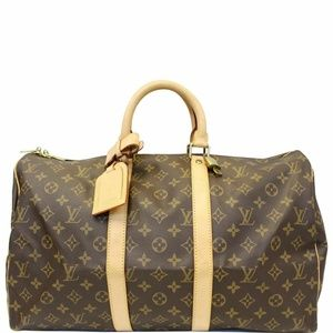LOUIS VUITTON Keepall 45  Duffle Travel Bag Brown